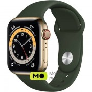 Apple Watch Series 6 (GPS Cellular) 40mm Gold Stainless Steel Case with Cyprus Green Sport Band (M02W3/M06V3)