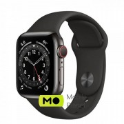 Apple Watch Series 6 (GPS Cellular) 40mm Graphite Stainless Steel Case with Black Sport Band (M02Y3/M06X3)