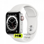 Apple Watch Series 6 (GPS Cellular) 40mm Silver Stainless Steel Case with White Sport Band (M02U3/M06T3)