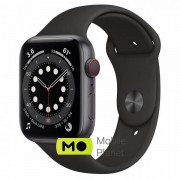 Apple Watch Series 6 (GPS Cellular) 44mm Space Gray Aluminum Case with Black Sport Band (M07H3/MG2E3)