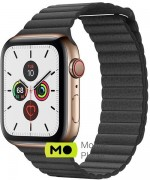 Apple Watch Series 5 (GPS Cellular) 44mm Gold Stainless Steel Case with Black Leather Loop (MWQN2)
